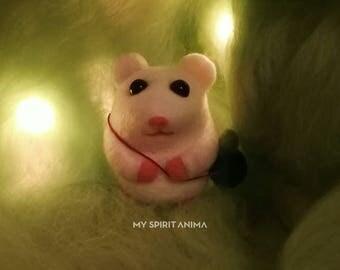 Hamster with blueberry, Wool Animal, Needle Felted Mouse,Needle Felted Hamster, Woodland love, Needle Felted Animal,MySpiritAnima,OOAK