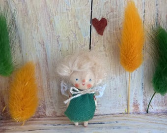 Miniature fairy doll in green dress Mini cute doll Elf doll Kawaii girl doll Art doll little fairy Tiny wooden doll Travel toy Pixie doll
