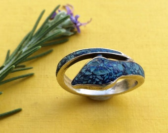 Snake Ring Blue Inlay Sterling Size 9