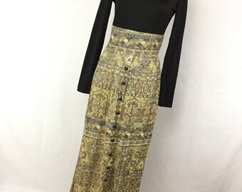 Vintage 60s 70s Dress S Small Grecian Goddess Black Gold Long Full Length High Neck Long Sleeve H2