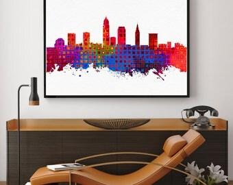 Cleveland Skyline Art, Cleveland Print, Cleveland Painting, Cleveland Poster, Watercolor Cleveland, Ohio Painting, Bedroom Art (N176)