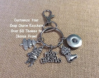 Snap Keychain, Snap Purse Charm Key Chain, Design Your Own Key Chain, Purse Charm, Over 50 Themes and 300 Charms, Fits 18mm Ginger Snaps