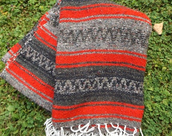 Genuine Mexican Blanket Vintage Aztec, Ikat Woven Blanket, made in Mexico, Mexican throw, Picnic Blanket, Beach Blanket, Comfy Blanket, 4x6