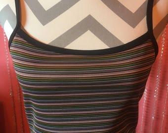 Vintage 90's grunge dress/ long striped maxi dress/90's tank top dress