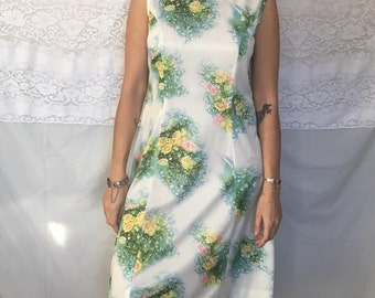 Vintage 60's/70's white floral tank top dress