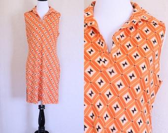 Vtg Side Slit Dress Orange Tunic Dress Collared Tunic Dress Sleeveless Collared Dress Orange Shift Dress Geometric Print Dress Stretch Tunic