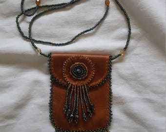 Mayan Indian Beaded Brown Leather Medicine Pouch Necklace Native American Style Medicine Bag Mojo Bag Leather Medicine Bag Necklace