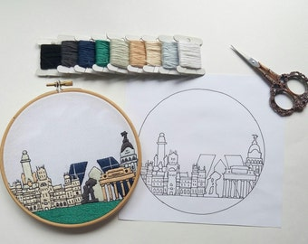 Madrid Hand Embroidery pattern PDF.Embroidery Hoop art, Hand Embroidery, Wall Decor, Gift. Free Hand embroidery guide!