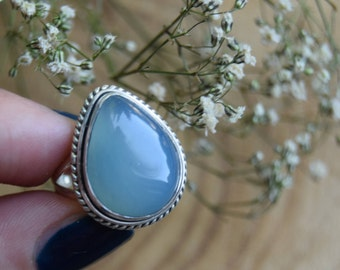 Chalcedony Ring, Sterling Silver Ring, Boho Ring, Size 7 Ring, Chalcedony Handmade Jewelry, Gemstone Ring, Gift for women, Blue boho ring