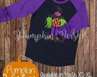 Halloween Monogram Shirt/Witch Monogram/Halloween Shirt/Ruffle Raglan Shirt/Fall Raglan/Monogram Raglan/Personalized Halloween Shirt