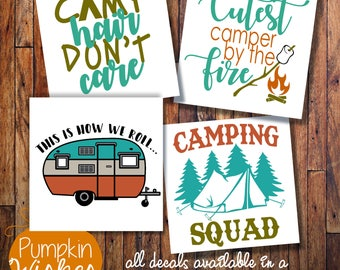 Camping decal/Camp Decal/Camp Hair Don't Care/Cutest Camper/Vinyl decal/Yeti decal/Car decal/Laptop decal/Yeti cup decal/RV Decal