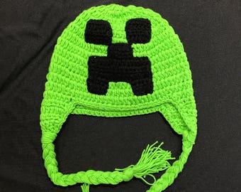 Minecraft creeper, Minecraft crochet hat, Minecraft crochet beanie,  crochet hat, Minecraft creeper crochet hat, creeper beanie