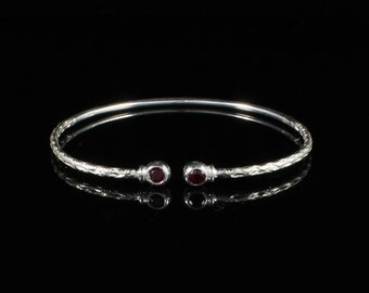 090 West Indian Bangle with Synthetic Garnet January Birthstone Handmade in Sterling Silver