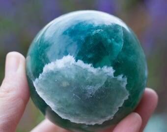 Rainbow Fluorite Sphere   Gemstone Sphere Purple Bulue Green Crystal Sphere Ball Stones   Healing Stones   Healing Crystals   Specimen 5