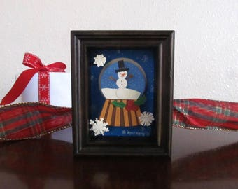 Snow Globe Mini Shadow Box Art Gift,ORIGINAL Mini Paper Art, Desk/Room Decor, Gift for Friend, Gift, Stocking Stuffers, Christmas Snow Globe