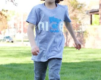Nice Minnesota Kids Shirt, Gray, FREE shipping - State Shirt, Minnesota Nice Shirt, Kids T-shirt