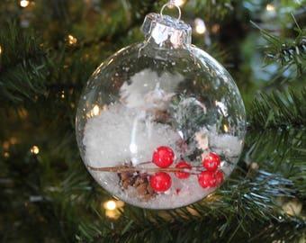 rustic ornament - snow globe ornament - rustic christmas - snow globe - berry ornament - light ornament - clear ornament - rustic decor