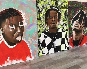 SUPREME INK peinture acrylique sur toile 60 x 80 cm, Travis Scott, Lil Yachty, Playboi Carti, Ian Connor Revenge, 21 Savage, Asap Rocky