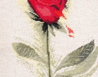"""Finished Cross Stitch Picture """"Red Rose"""". Gift for Her. Completed Cross Stitch. Hand Embroidery. Home Decor. Wall decor READY TO SHIP"""