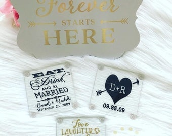 Love, Laughter, Happily Ever After Personalized Glass Coasters // Custom Wedding Glass Coaster // Wedding Favors // Custom Coaster // Favors
