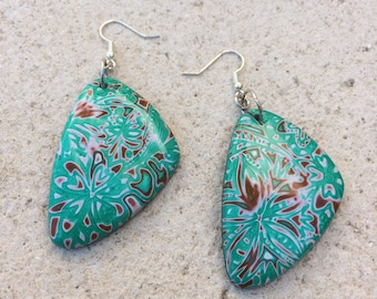 Green and white polymer clay earrings