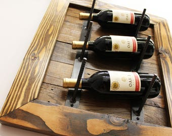 Reclaimed Wood Wine Rack, Wall Wine Rack, Wine Bottle Rack, Wine Bottle Storage