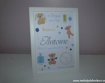 Birthstone personalized baby bear nursery kids poster frame