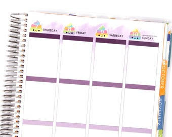 Happy Unicorn Rainbow Poo Date Dots Covers for VERTICAL Erin Condren Life Planner ECLP Kawaii Create 365 Cute Funny Personal Mambi Countdown