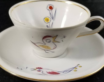 Schirnding Mid CenturyChilds Porcelain Teacup with Birds and Rooster. 1949 to 1956
