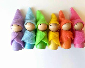 Neon Gnomes - Waldorf dolls - Woodland Gnomes - Small dolls - Dollhouse dolls - Colorful dolls - Wooden dolls - Gnome doll - Gnome peg dolls