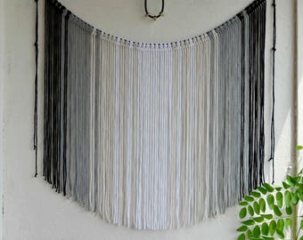 Large Macrame wall hanging Ombre Macrame curtain  Bohemian Fiber wall art  Banner  Boho decor Backdrop Macrame garland Cotton cord Gray