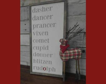 "Reindeer Names Wooden Rustic Sign with Frame 10""x 18"" /Dasher/Dancer/Prancer/Vixen/Comet/Cupid/Donner/Blitzen/Rudolph Christmas Wall Decor"
