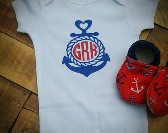 Red, Blue, White, Nautical, Anchor, Moccasins, personalized, monogrammed, onesie set, baby crib shoes, soft sole