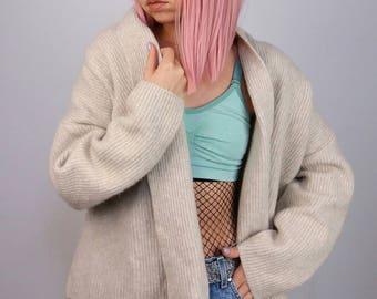 Vintage 90's Wool Blend Oversized Open Cardigan / Jacket / Jumper | Shawl Wrap | Size S-M