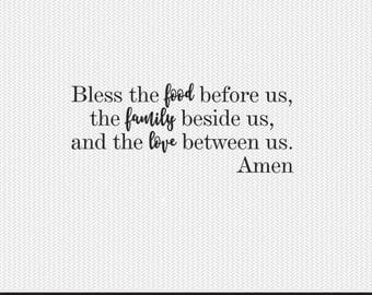 bless the food before us svg dxf file instant download silhouette cameo cricut clip art commercial use
