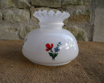 Opaline globe lamp white decor flowers - blue Globe vintage - poppy Decor - Decor flower fields-