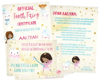 Brown Tooth Fairy Receipt, Brown Tooth Fairy Letter,  Brown Tooth Fairy Record, Brown Tooth Fairy Certificate, Brown Fairy Tooth Printable,