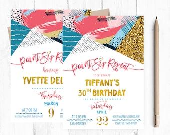 Adult Art Party Invitation, Birthday Art Party Invitations, Adult Art Party, Art Party Invitations, Art Party Invitation, Painting