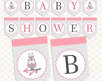Owl Baby shower banner. Pink Gray Baby shower banner download. Printable banners. Pastel Baby shower decorations