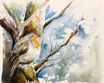 "Original watercolor painting-free shipping ""Robin perched in tree Garden"" (bird watercolor painting bird redrobin nature)"