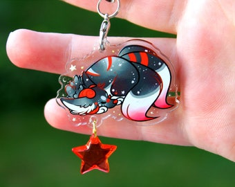 Roulette the Shadow Wolf - Acrylic Charm 1.5 Doublesided Furry Keychain or Cellphone Strap