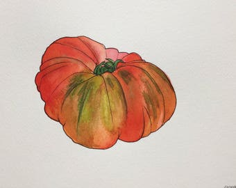Heirloom Tomato Watercolor Painting