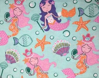 "Seashell Mermaids fabric, By the Half Yard, 44"" wide, 100% cotton, novelty fabric, mermaid fabric, ocean fabric, girl fabric, under the sea"
