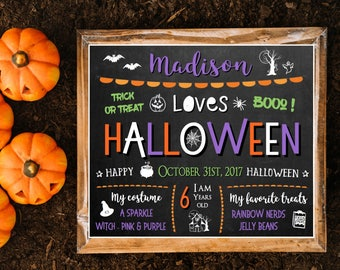 Halloween chalkboard sign for kids, Halloween sign, Printable Halloween sign, Chalkboard halloween Sign, Personalized Halloween chalkboard