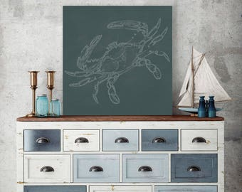 Crab on Canvas, Underwater Creatures, Sea Creature, Marine Canvas, Crab Wall Art, Crab Wall Decor, Crab on Canvas