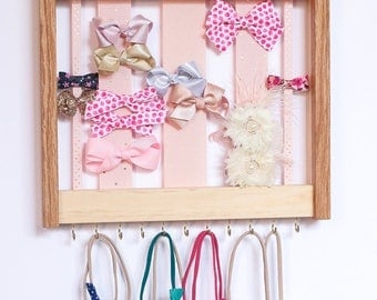 Wood Bow Organizer & Headband Holder / Oak Pine Wood Frame Hooks / Large Organizer Handmade / High Quality / Nursery Girls Room Decor
