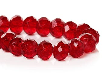 45 beads faceted red glass Crackle 8 mm / oval beads