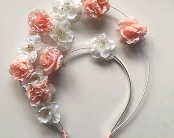 Fascinator - Peach & Ivory Flower Halo Crown