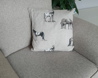 """16"""" Handmade Cushion Cover & Cushion - Clarke and Clarke 'Chevaux' design - great gift for horse lovers and pony mad children!"""
