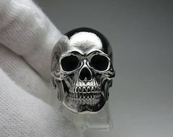 Skull (Dead) 11 ring - full jaw anatomical skull ring - silver 925